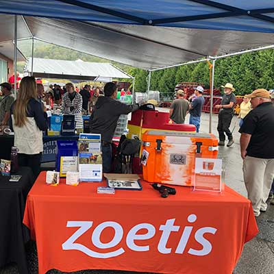 A Zoetis booth in a gathering.