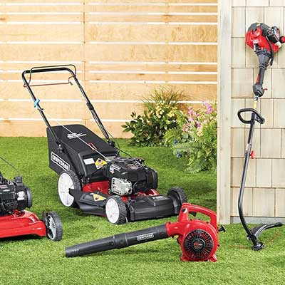 A line of gardening and lawn caring equipment
