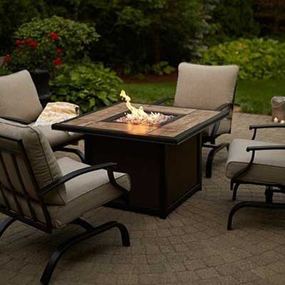 An outdoor patio set.